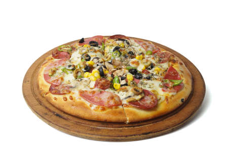 upperdeck view: Turkish style mixed pizza  Stock Photo