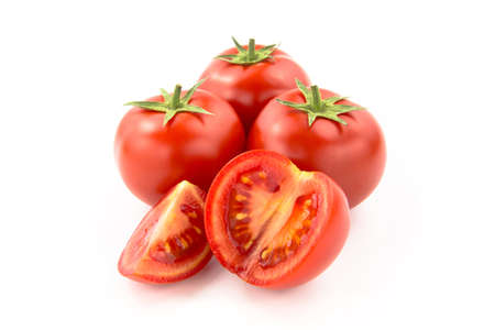 domates: Four Sliced Tomatoes - Clipping Path Inside