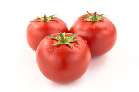 domates: Three Tomatoes With Water Drops - Clipping Path Inside