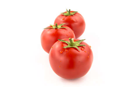 domates: Arrenged Three Tomatoes With Water Drops - Clipping Path Inside