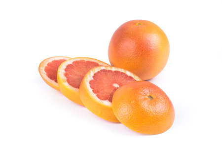 Sliced Grapefruit - Clipping Path Inside Stok Fotoğraf