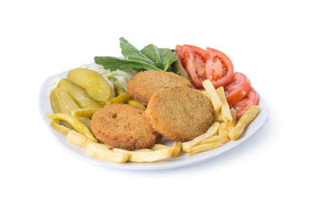 Schnitzel with garnitures - Clipping path inside