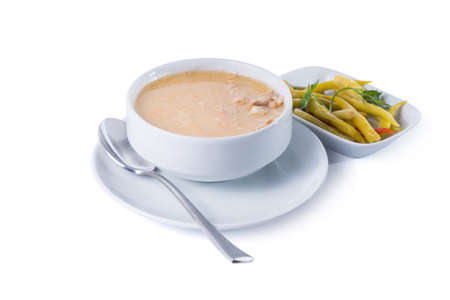 tripe: Turkish iskembe (tripe) soup with salad - Clipping path inside Stock Photo