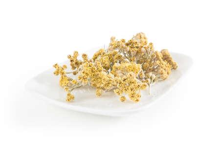 yarrow: Dry Yarrow Thousand-Leaf Milfoil on White Background