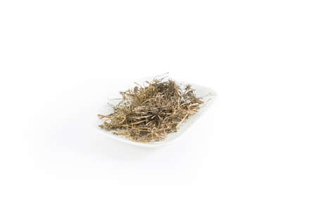 herbolario: Dry Bedstraw Cleavers Goose Grass on White Background