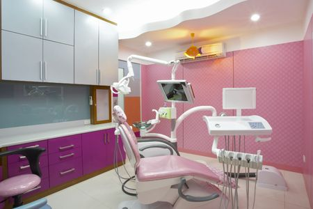 healthcare facilities: panoramic view of interior  of dental office Stock Photo