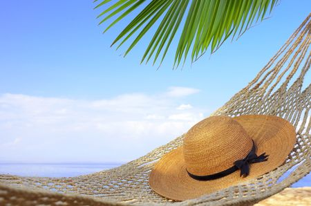 cerulean: view of nice  hammock hanging between two palms with some hat in it