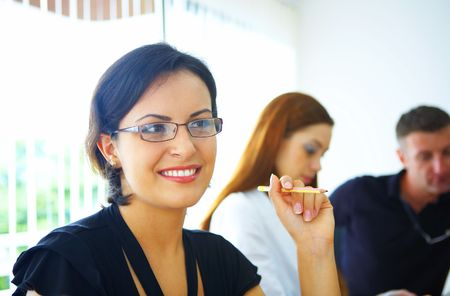 Portrait of nice young businesswoman in office environment Stock Photo - 2298965