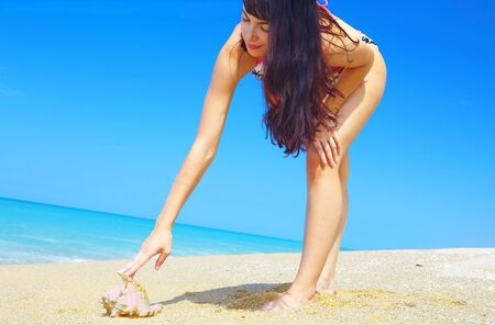 portrait of a young gorgeous female on beach picking up sea shell  photo