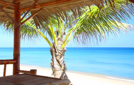 bamboo house: view of nice exotic bamboo hut on tropical beach