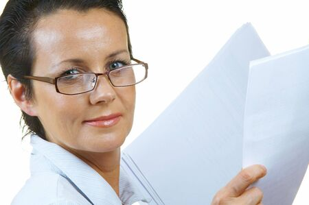 spokesperson: portrait of businesswoman doing  her paperwork in the office Stock Photo