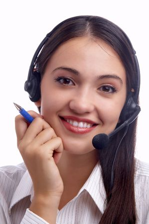 working place: view of nice young woman operator at her working place Stock Photo