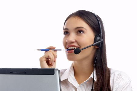 view of nice young woman operator at her working place Stock Photo