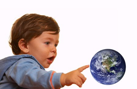 protrude: portrait of a young boy playing with planet earth