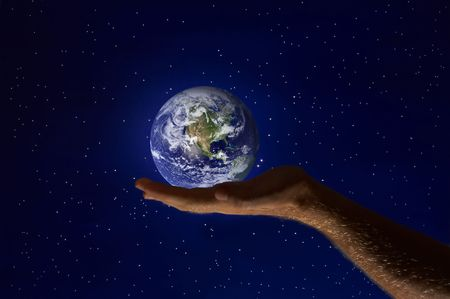 view of human palm with planet earth on it Stock Photo - 2308200