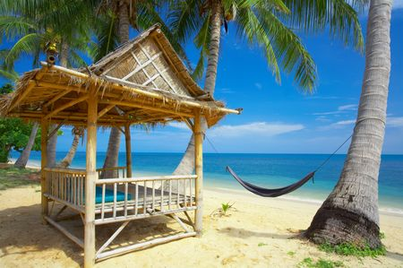 laze: view of nice exotic bamboo hut on tropical beach