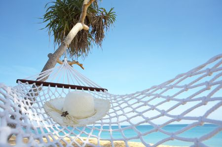 view of nice white hammock hanging between the  palms Stock Photo