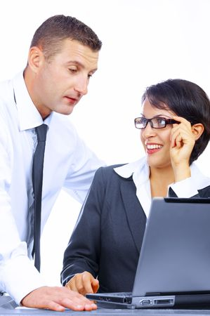 portrait of business colleagues  discussing  plans on white back Stock Photo - 2402528