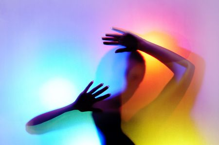 contain: silhouette of dancing girl on colorful back. Image may contain slight multicolor aberration as a part of design. Structure of plastic curtain�s surface  the image was made through might seems like sort of digital noise.