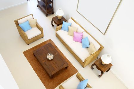 Panoramic view of nice light living room Stock Photo - 2693816