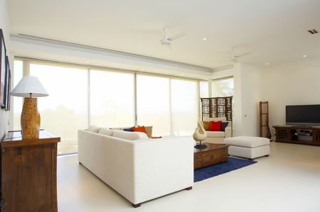 Panoramic view of nice light living room Stock Photo - 2693814