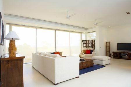 Panoramic view of nice light living room