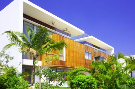 View of nice modern villa in tropic environment