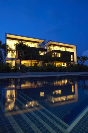 tonight: View of nice modern villa in tropic environment Editorial
