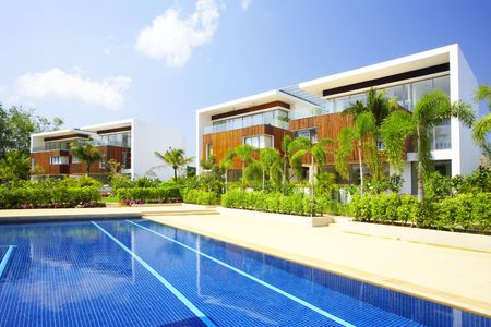 View of nice modern villa in tropic environment Stock Photo - 2703560