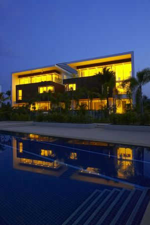 residence: View of nice modern villa in tropic environment Editorial
