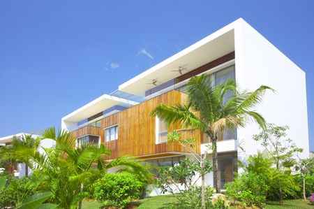 View of nice modern villa in tropic environment Editorial