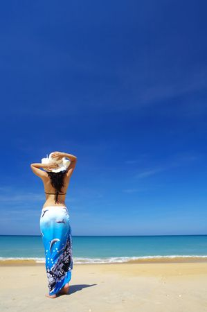 cerulean: view of  female back on a background of the tropical sea