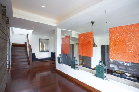 portrait Panoramic view of nice new light interior . images on wall were distorted Stock Photo - 3088463