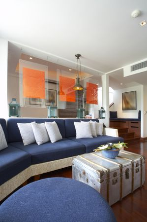 Panoramic view of nice light living room.  Images on wall was contorted. Stock Photo - 3093519