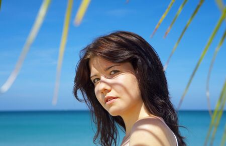 view of  nice young  gorgeous female in summer environment photo