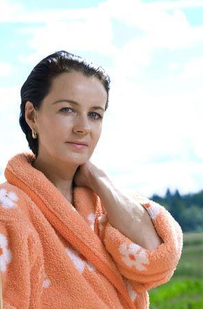 bodyscape: Portrait of nice brunette in summer  environment
