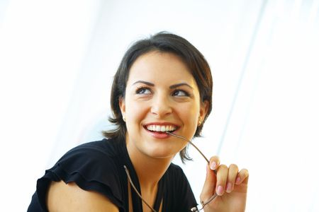 spokesperson: portrait of nice young brunette on white