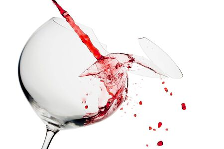 shard of glass: view of broken wine glass  getting filled with red wine