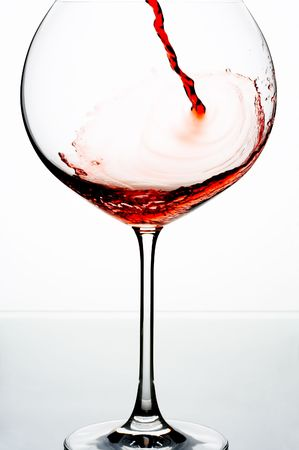 close up view of wineglass getting filled with red wine Stock Photo - 3622263