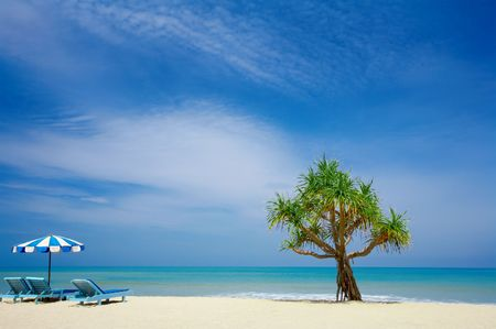 furlough: view of nice empty tropic beach early in the morning Stock Photo
