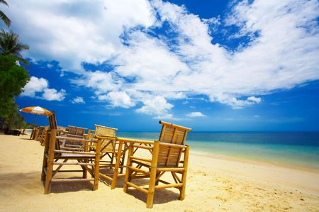 twiddle: view of  nice exotic bamboo furniture in caf� on tropical beach