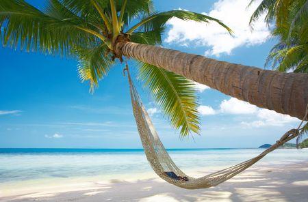 hammock beach: view of nice straw hammock on the tropic beach Stock Photo