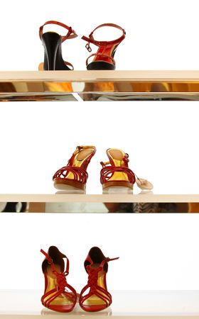 heel strap: view of a pairs of nice woman shoes are waiting for their owner in showcase