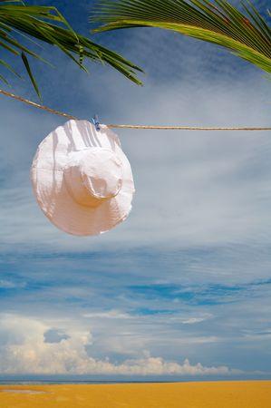 solter�a: agradable vista de blanco Panam� colgados en la cuerda en el ambiente tropical Foto de archivo