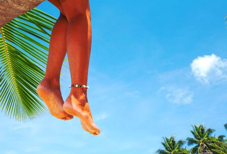 singleness: view of nice smooth womans legs hanging down from the palm Stock Photo