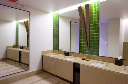 rest room: Panoramic view of nice modern stile rest room.