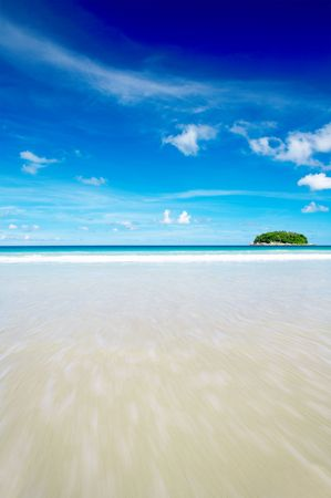 cerulean: view of cerulean ocean surface and nice tropic island in the distance Stock Photo
