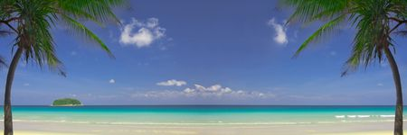 furlough: View of nice tropical empty sandy beach with some palm. Banner, lots of copy space.