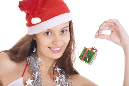 Portrait of  young beautiful x-mas girl on white back Stock Photo - 4022398
