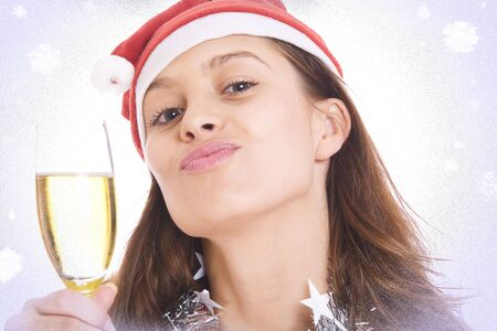 Portrait of  young beautiful x-mas girl on white back Stock Photo - 4022409